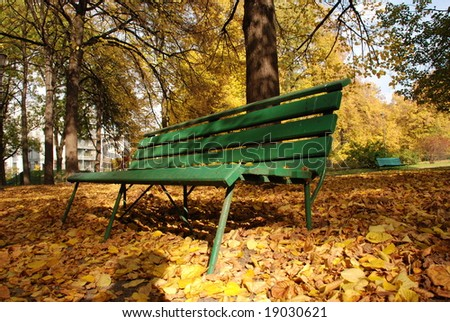 Desk in autumn city park
