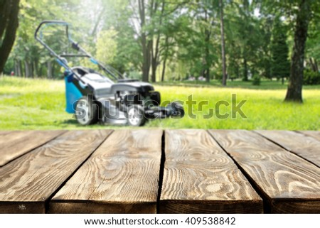 desk in garden  - stock photo