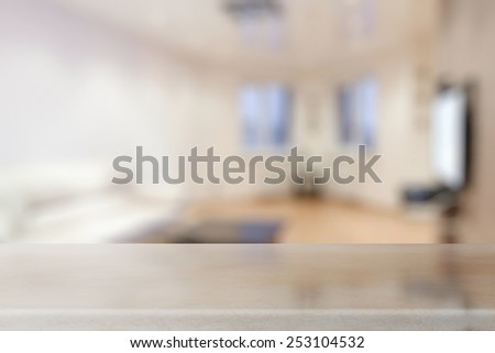 desk in the living room - stock photo