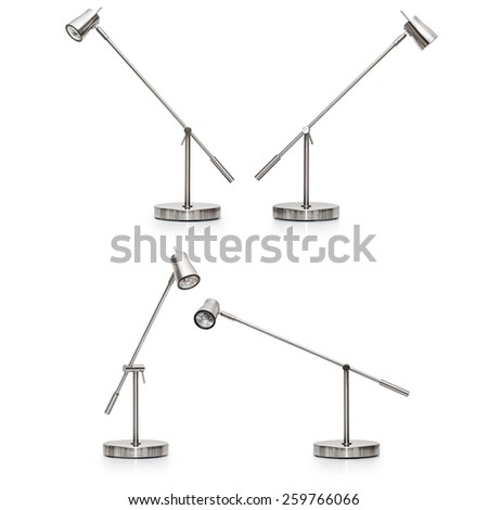 Desk lamp collection isolated on white background - stock photo