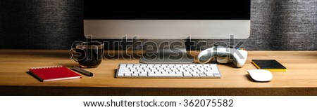 Desk of creative worker / Modern creative workspace. Resolution of 1400 by 425 - stock photo