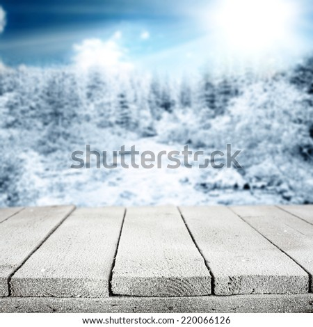 desk of snow and frost with forest background  - stock photo