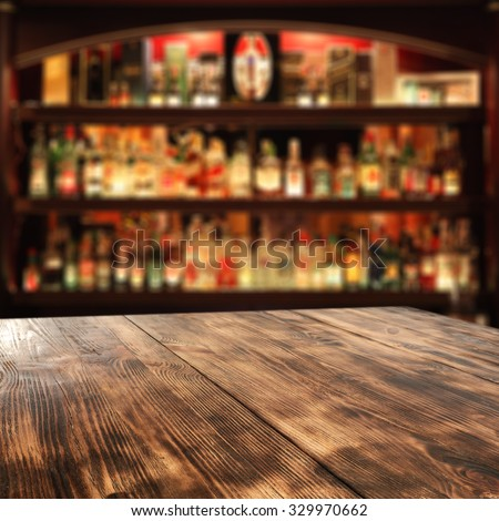 desk of wood bar and free space  - stock photo
