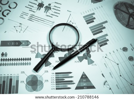 Desk office and business graph analysis report.  - stock photo