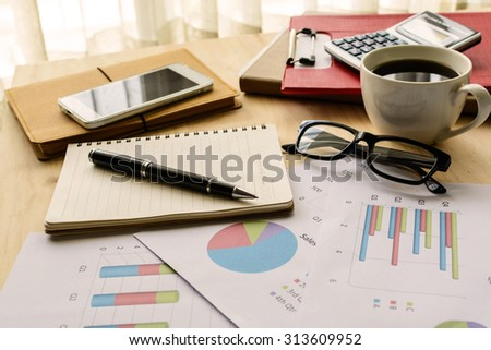 Desk office business financial accounting calculate, Graph analysis, Business concept - stock photo