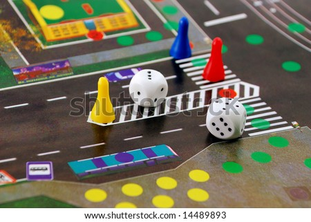desk play road rules with chips and cubes - stock photo