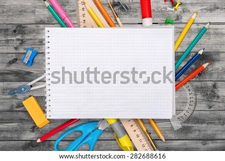 Desk, school, background. - stock photo