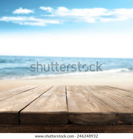 desk space and sea and summer and sunny day  - stock photo