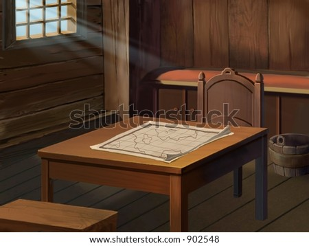 Desk with Map