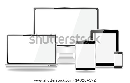 desktop and mobile devices with white screen