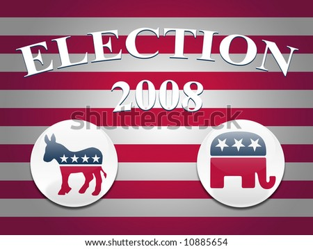Desktop background with red and white stripes and democrat and republican logo buttons - stock photo