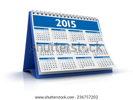 Desktop Calendar 2015 isolated in white background - stock photo