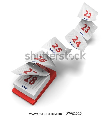 Desktop calendar showing how 7 days fly by on white background with day names - stock photo