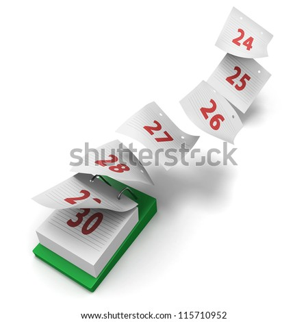 Desktop calendar showing how 7 days fly by on white background without day names as a generic last week 30 day month - stock photo