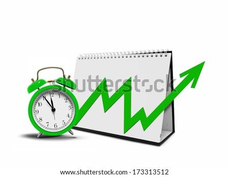 Desktop Calender with Arrow Chart and Alarm Clock - stock photo
