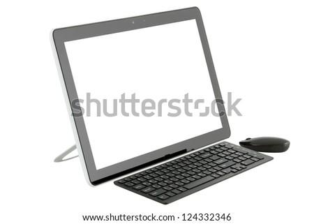 Desktop computer isolated on white background. - stock photo