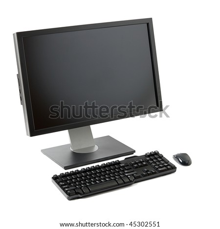 Desktop computer ( monitor, keyboard, mouse) isolated - stock photo