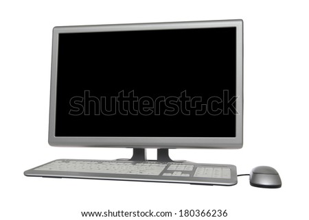 Desktop computer monitor with keyboard and mouse on white background