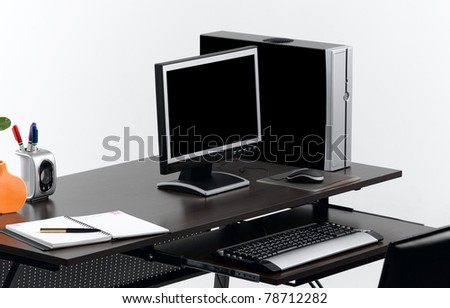 Desktop computer on the working table the important business tool - stock photo