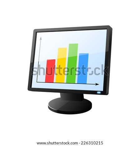 desktop computer diagram on screen 2 d stock illustration 226310215 computer network diagram desktop computer with diagram on screen 2d illustration
