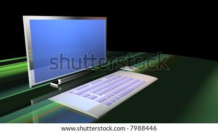 Desktop computer with keyboard - stock photo