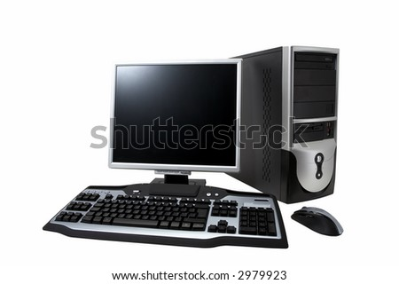 "desktop computer with lcd monitor, keyboard and mouse, isolated over white. With ""Clipping Paths"" - stock photo"