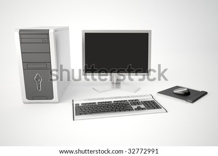 desktop computer with monitor - stock photo