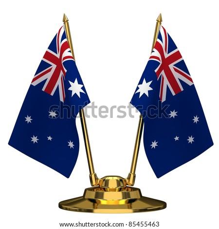 Desktop flagpole with flag of Australia on a white background. - stock photo