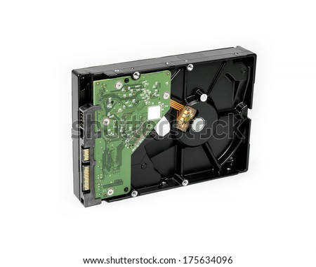 desktop hard disk drive on white background