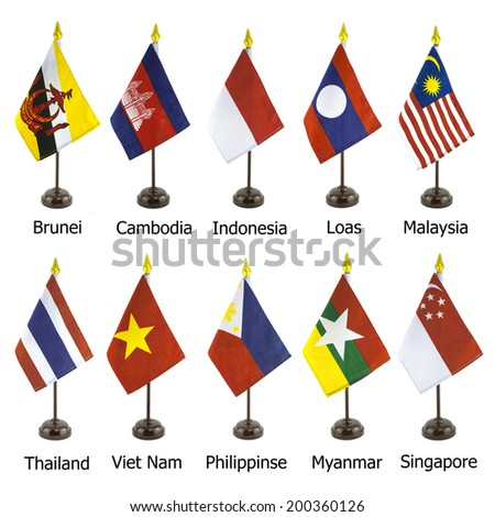 Desktop national flags for the AEC member, asean economic community flagpoles isolated on white background, Photo - stock photo
