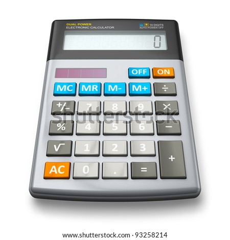 Desktop office calculator isolated on white background - stock photo