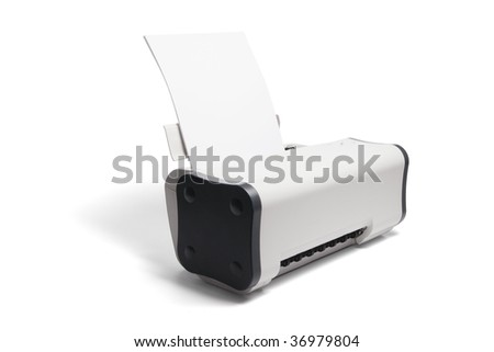 Desktop Printer on Isolated Printer - stock photo