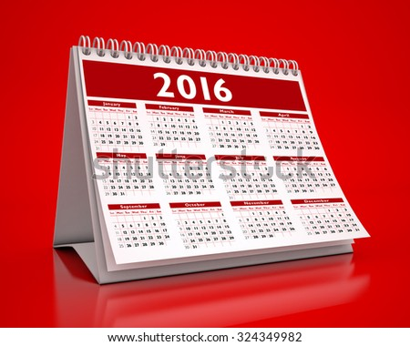 Desktop Red Calendar 2016 isolated - stock photo