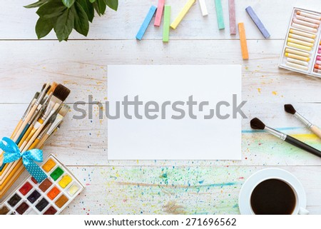 Desktop workplace designer, artist, painter top view. modern trend template for advertising. Mockup, layout, template for brochure, banner space for text. - stock photo