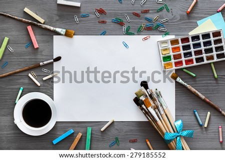 Desktop workplace designer, artist, painter top view. modern trend template for advertising. Mockup, layout, template for brochure, banner space for text.Creative mess. - stock photo