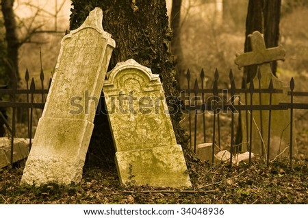 desolate cemetery from the past - stock photo