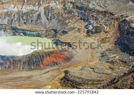 Desolate landscape around the Poas Volcano crater. - stock photo