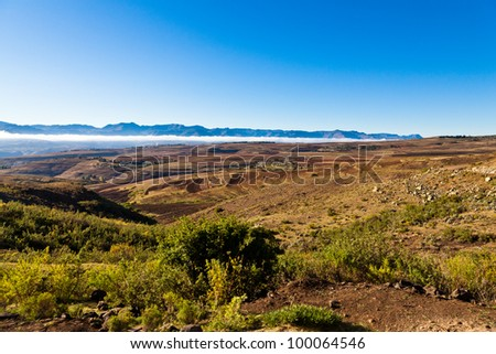 Desolate mountain landscape in morning sun in Africa