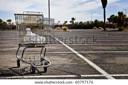 Desolate Parking Lot - stock photo