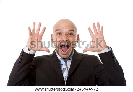 desperate Brazilian bald businessman screaming and shouting crazy stress with mouth open and mad face expression in overwork and business crisis concept - stock photo