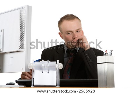desperate businessman before white background