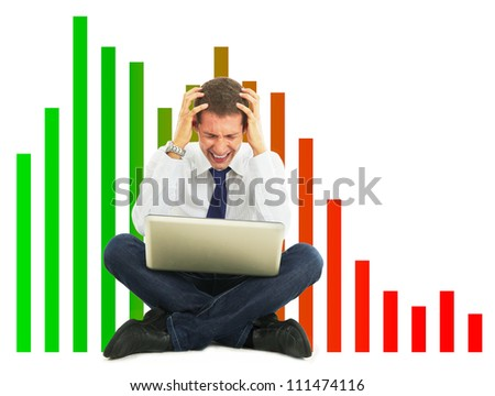 Desperate businessman, financial crisis concept - stock photo