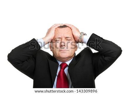 Desperate businessman portrait - stock photo