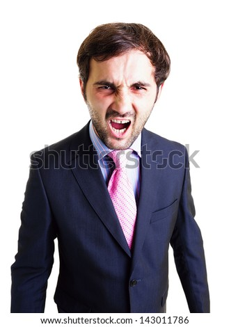 Desperate businessman screaming, white background. Conceptual image. - stock photo