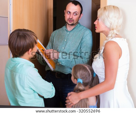 Desperate family and irritated adult inspector having conversation at entrance