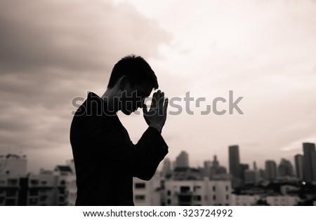 Desperate male in the city.  - stock photo