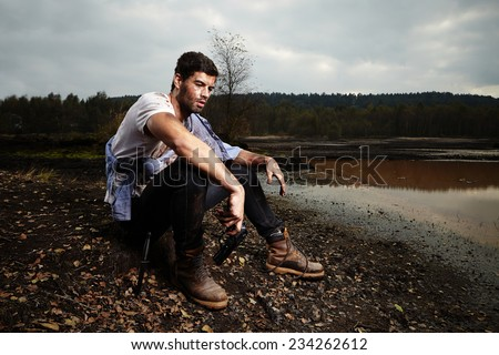 Desperate man on run - stock photo