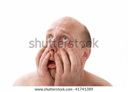 desperate man who is unhappy and who despair. male feeling hopelessness isolated on white - stock photo