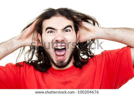 Desperate Screaming Man with Red T-Shirt Isolated on White