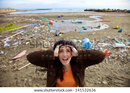 Desperate woman shouting to ask for help because of climate disaster - stock photo
